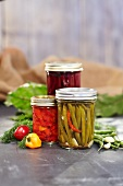 Pickled Vegetables in Jars; Pickled Beans, Peppers and Beets