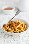 Sweet Spätzle (soft egg noodles from Swabia) with cinnamon and sugar