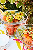 A summer buffet in the garden with stuffed lettuce leaves and salmon & avocado tartar