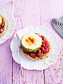 Rhubarb tart with sour cream parfait