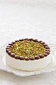 White chocolate and pistachio cake