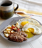 Breakfast Plate with Buffalo Breakfast Sausage and Sunny Side Up Eggs; Runny Yolk