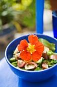 A garden salad garnished with a nasturtium (Scandinavia)