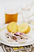 Pickled herring with potatoes (Scandinavia)