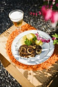 Beef steak with onions and potatoes (Scandinavia)