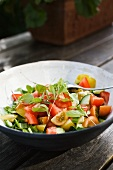 Colourful vegetable salad with tomatoes (Scandinavia)