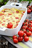 Tomato and goat's cheese clafouti