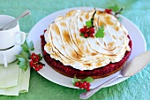 Redcurrant tart topped with meringue