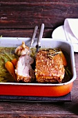Crispy roast pork braised in yarrow tea