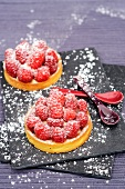 Individual Raspberry Dessert Dusted with Powdered Sugar