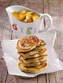 Blinis with peach compote