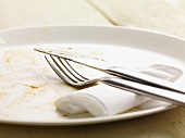 A dirty plate, cutlery and a paper napkin