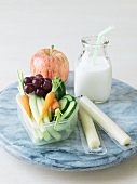 Healthy Snacks; Veggies, Cheese Sticks, Fruit and Milk