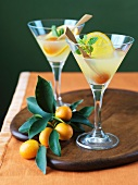 Two Kumquat Martinis; Fresh Kumquats