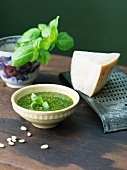 Bowl of Homemade Pesto Sauce; Cheese, Basil and Pine Nuts