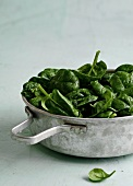 Close up of pan of cooked spinach