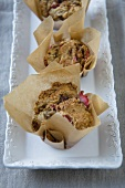 Banana Strawberry Muffins in Brown Paper Cups