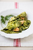 Barley Grass and Salmon Omelet