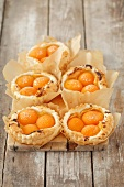 Puff pastry tartlets with apricots and vanilla cream