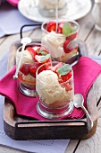 Halwa and white chocolate mousse with strawberries