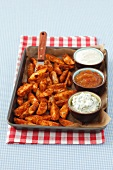 Potato wedges with three dips
