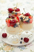 Vanilla dessert with fruit and slivered almonds