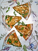 Slices of pizza with poppyseed, lentil cream and tandoori chicken