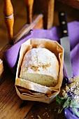 Elderflower bread in a wooden basket