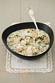 Chicken dumplings in a dill sauce