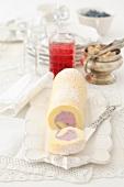 Sponge roll with blueberry cream