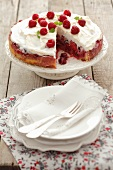 Raspberry cake topped with meringue