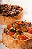 Two Deep Dish Pizzas; Mushroom and Cheese and Tomato and Cheese