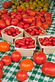 Variety of Tomatoes on a Farmer's Market Table