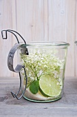 Sugar, elderflowers and limes in a preserving jar
