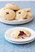 Cherry Tart Cookies; One Broken Over on a Plate