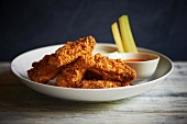 Fried Chicken Wings with Dipping Sauce and Celery