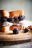 Ice Cream Sandwich with Brioche, Blackberries, Vanilla Ice Cream and Hazelnut Spread