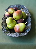 Pears and Figs in a Pewter Bowl