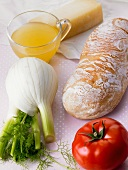 Ingredients for fennel soup with toasted bread