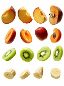 Peaches, apricots, kiwis and bananas