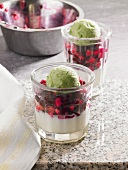 Panna cotta with beetroot and pistachio ice cream