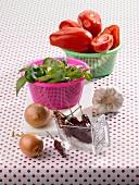 Zutatenstill für Tomatenragout