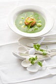 Cold mange tout and salmon soup