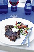 Lamb with Greek salad (Greece)