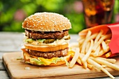 Fast Food; Double Cheeseburger with Fries and a Soda