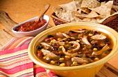 Bowl of Chicken Tortilla Soup; Salsa and Tortilla Chips