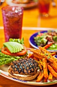 Grilled Turkey Burger with Sweet Potato Fried and a Soda