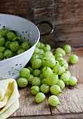 Gooseberries in a white colander and on a wooden surface