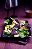 Platter of Grilled Squash, Eggplant and Baby Spinach