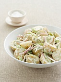 Potato salad with red onions, celery and dill-yogurt sauce